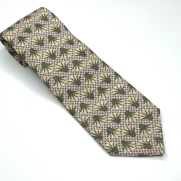 GANT | Rare Plant Check Pattern Silk Tie Green Tan